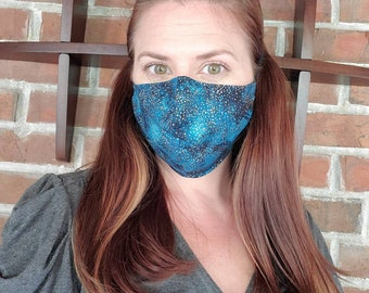 Cosmo Sparkle Teal Fabric Face Mask with pocket for filter and nose wire - Handmade by Shanna Britta