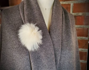 Real White Fur Hand Stitched Kilt Pin Brooch - Custom made by Shanna Britta
