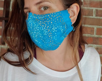 Turquoise Hand Painted Artisan Mask with pocket filter and nose wire- Handmade by Shanna Britta