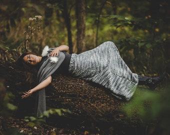 Designer Gray Herringbone Sweater Skirt - Custom Made by Shanna Britta