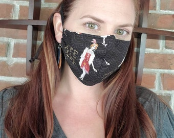 20s Flapper Girl Fabric Face Mask with pocket for filter and nose wire - Handmade by Shanna Britta