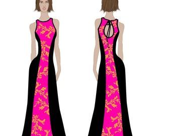Retro Princess Panel Dress Pink Tangerine Coral - Custom made by Shanna Britta