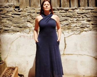 Criss Cross Draped Linen Dress Navy  - Custom made by Shanna Britta