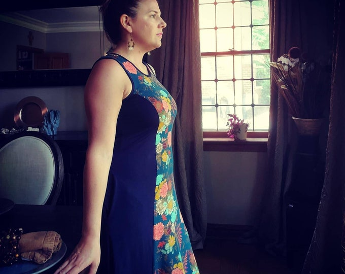 Featured listing image: Retro Princess Panel Dress Navy Floral  - Custom made by Shanna Britta