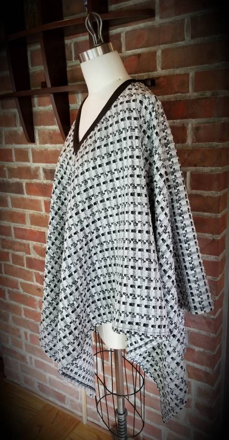 Custom Made by Shanna Britta Cowl Neck Poncho in Whisper White and Black Geometric Wool Knit