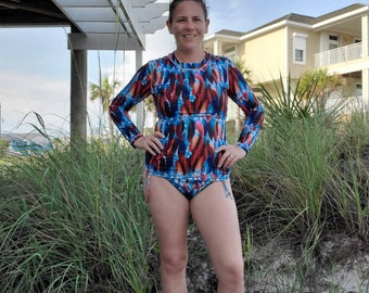 Women's Swim Shirt Rash Guard Tropical Turquoise Feathers - Custom made by Shanna Britta