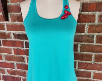 Tropical Flower Flowy Tank Hand cut and hand Embroidered little flowers - Custom made by Shanna Britta