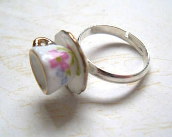 Alice in Wonderland Floral Teacup Ring, Tea cup, Retro,Flower, Silver, Adjustable, Miniature