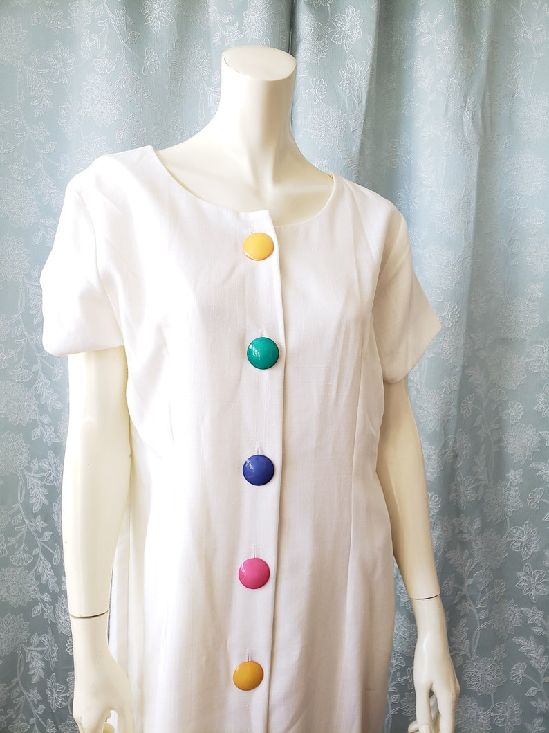 1980s White Short Sleeve Dress Multi-color Buttons Size 14 Made in USA by Periwinkle