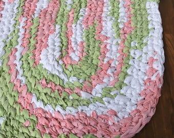 "40""x26"" Green, Pink and White, Hand Crocheted Oval Rag Rug, Little Girl's Nursery Rug, Girl's Bedroom Rug, Hand Braided Custom Rag Rug"