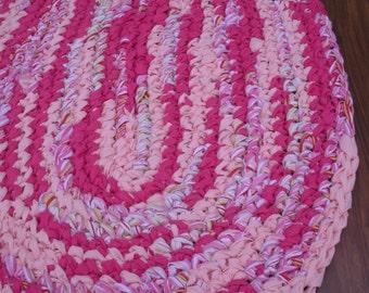 "40""x28"" Pink, Peach and White, Hand Crocheted Oval Rag Rug, Braided Rug, Girl's Bedroom Rug, Nursery Rug, Crochet Rug, Valentine's Day Rug"