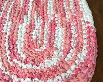 "40""x26"" White and Pink, Hand Crocheted Oval Rag Rug, Girl's Bedroom Rug, Girl's Nursery Rug, Pink Rug, Crochet Rug, Braided Rug, Throw Rug"