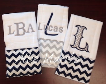 Baby Burp Cloths, Burp Cloths, Boy Burp Cloths, Embroidered Burp Cloths, Personalized burp clothes, monogrammed burp cloths, baby gift