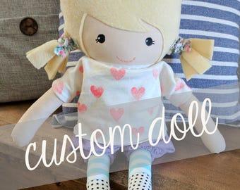 Custom Handmade Doll, Fabric Doll, Ragdoll, Customized Doll, Made to Order, Doll.