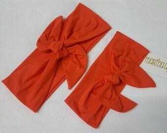Orange- Adjustable Top Knot Headband