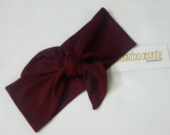 Burgundy-Adjustable Top Knot Headband