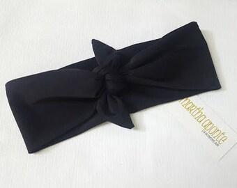 Black- Adjustable Top Knot Headband