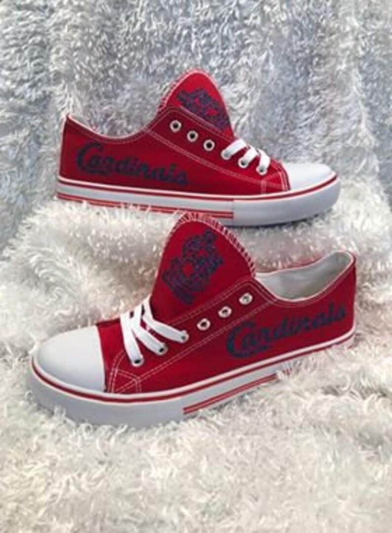 f3cc4cb8cae54 St Louis Cardinals Canvas Shoes, MLB, Team Shoes, Low Top Canvas Shoes,  Women's baseball shoe