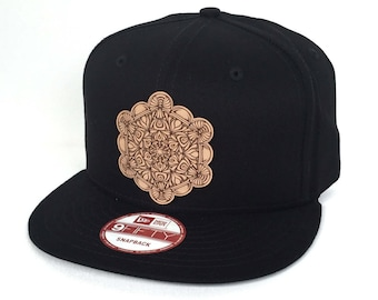 da4c8935de5bc Metatron s Cube Mandala Snapback Hat - Black New Era Snapback Hat - Sacred  Geometry Hat - Baseball Hat - Festival Snapback - Leather Patch