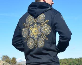 Sacred Geometry Chakra Zip Up Hoodie  - Sacred Geometry Clothing - Flower of Life Festival Hoodie - Black Hoodie - Mens Hooded Sweatshirt