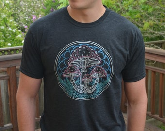ebd95cd114540 Mens Mushroom T Shirt - Nature Shirt - Mens Black T Shirt - Camping T Shirt  - Mens Festival Clothing - Sacred Geometry Mens Clothing