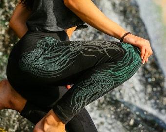 1f7cad7315a8 Glow in the Dark Jellyfish Full Leg Leggings - Yoga Leggings - Women's  Black Leggings - Women's Festival Leggings - Jellyfish Yoga Pants