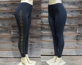 Gold Platonic Solid Simple Leggings - Sacred Geometry - Yoga Wear
