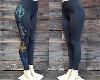 Earth Air Fire Water Leggings - Women's Leggings - Black Leggings - Element Leggings - Festival Clothing - Workout Leggings