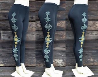 Glow in the Dark Sri Yantra Leggings - Sacred Geometry Leggings - Yoga Leggings - Women's Leggings - Festival Leggings
