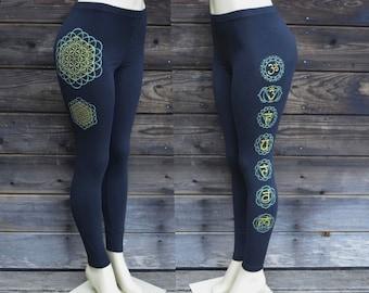 Flower of Life Chakra Leggings - Sacred Geometry Leggings - Yoga Leggings - Festival Clothing - Yoga Wear - Women's Leggings