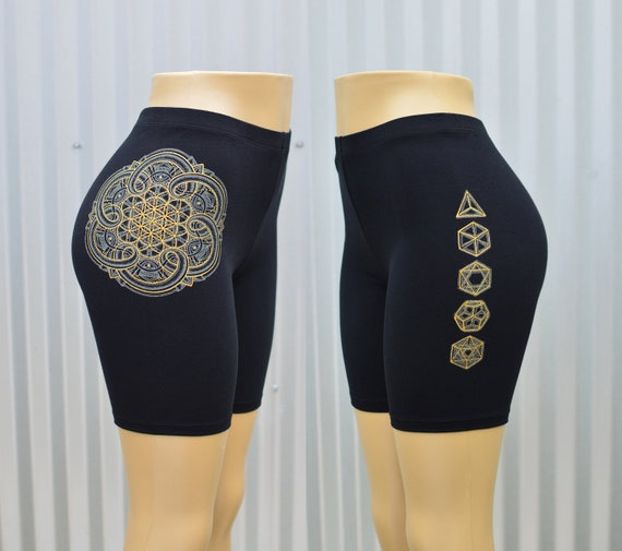 Gold Butterfly Hot Shorts High Waisted Fitness Shorts Women/'s Festival Shorts Glow in the Dark Yoga Shorts Sacred Geometry Clothing