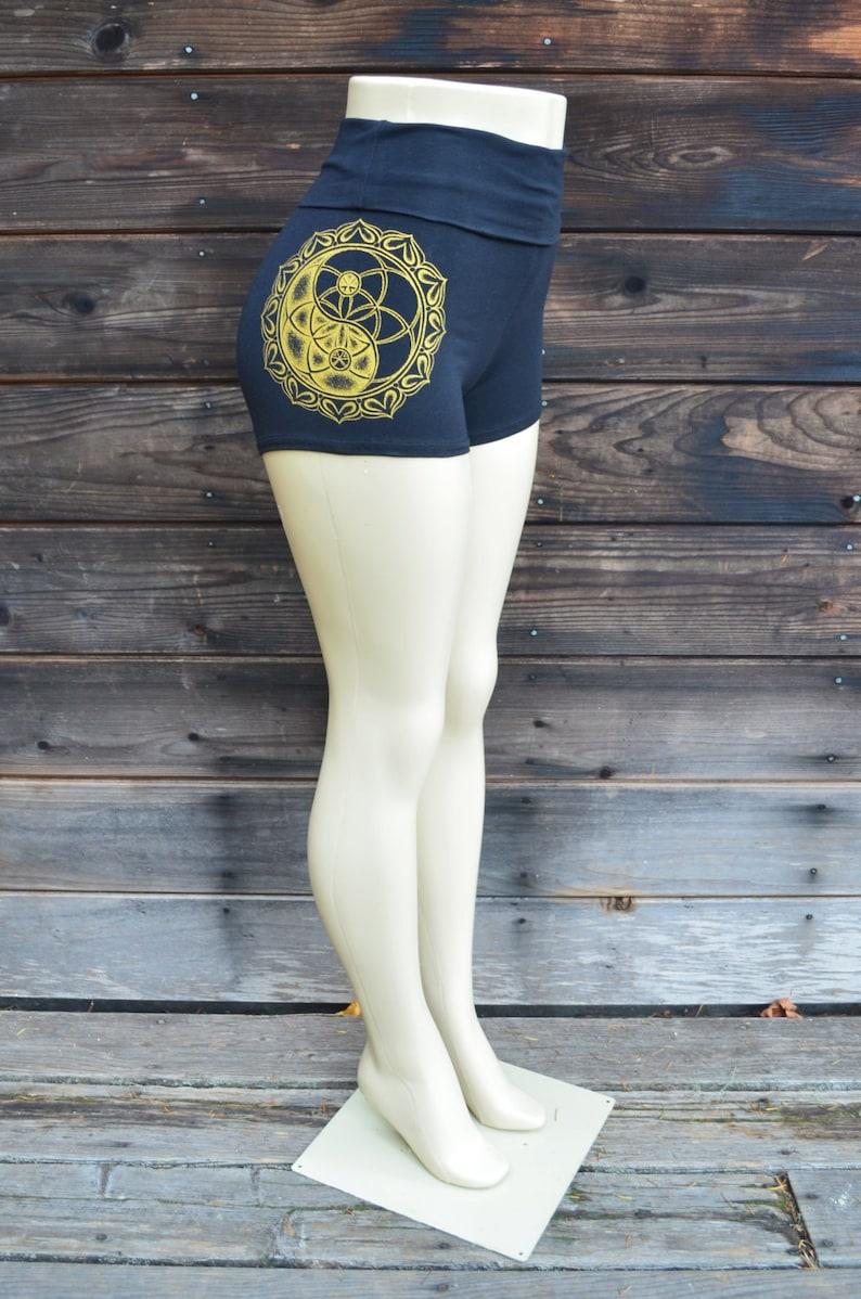 Seed of Life Yin Yang Mandala High Waisted Hot Shorts Sacred Geometry Clothing Women/'s Yoga Shorts Roll Top Shorts Festival Shorts