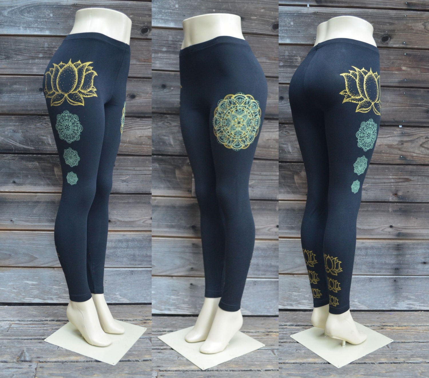 Gold Lotus Flower Leggings Glow In The Dark And Gold Etsy