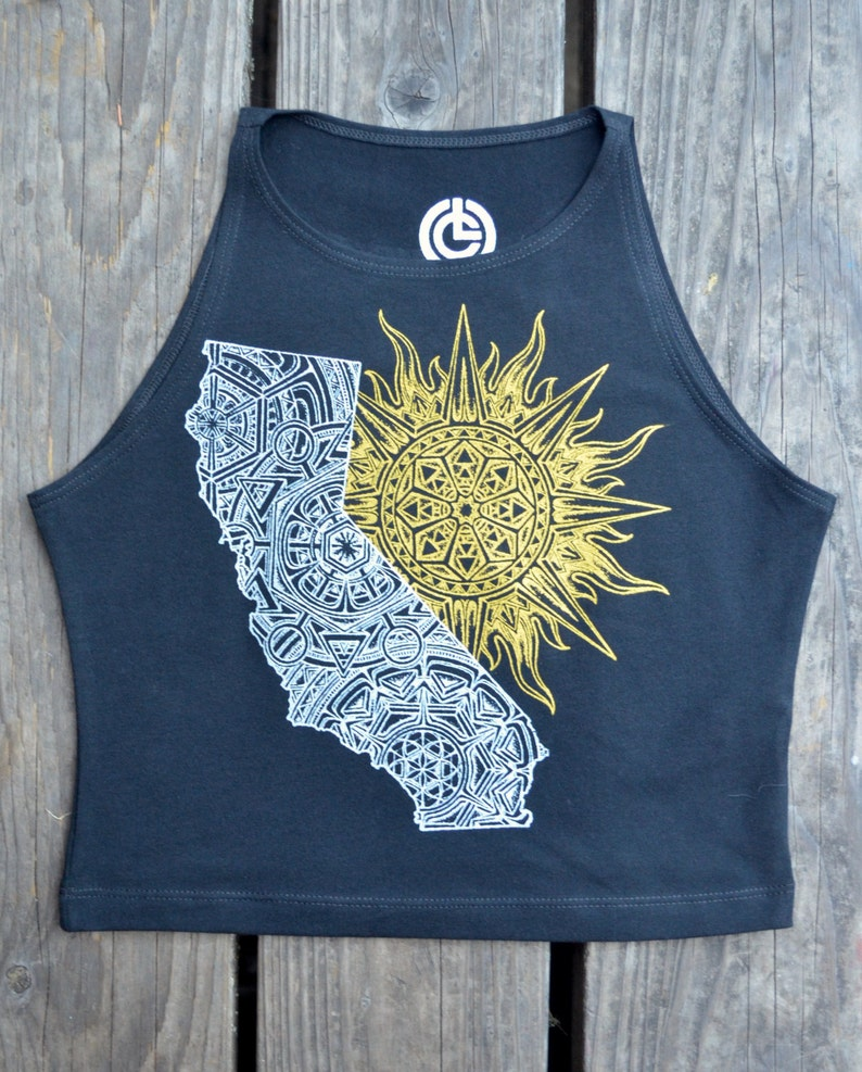 California Festival Shirt Yoga California Crop Top Sacred Geometry Crop Top California Sun Mandala Fitted Crop Top