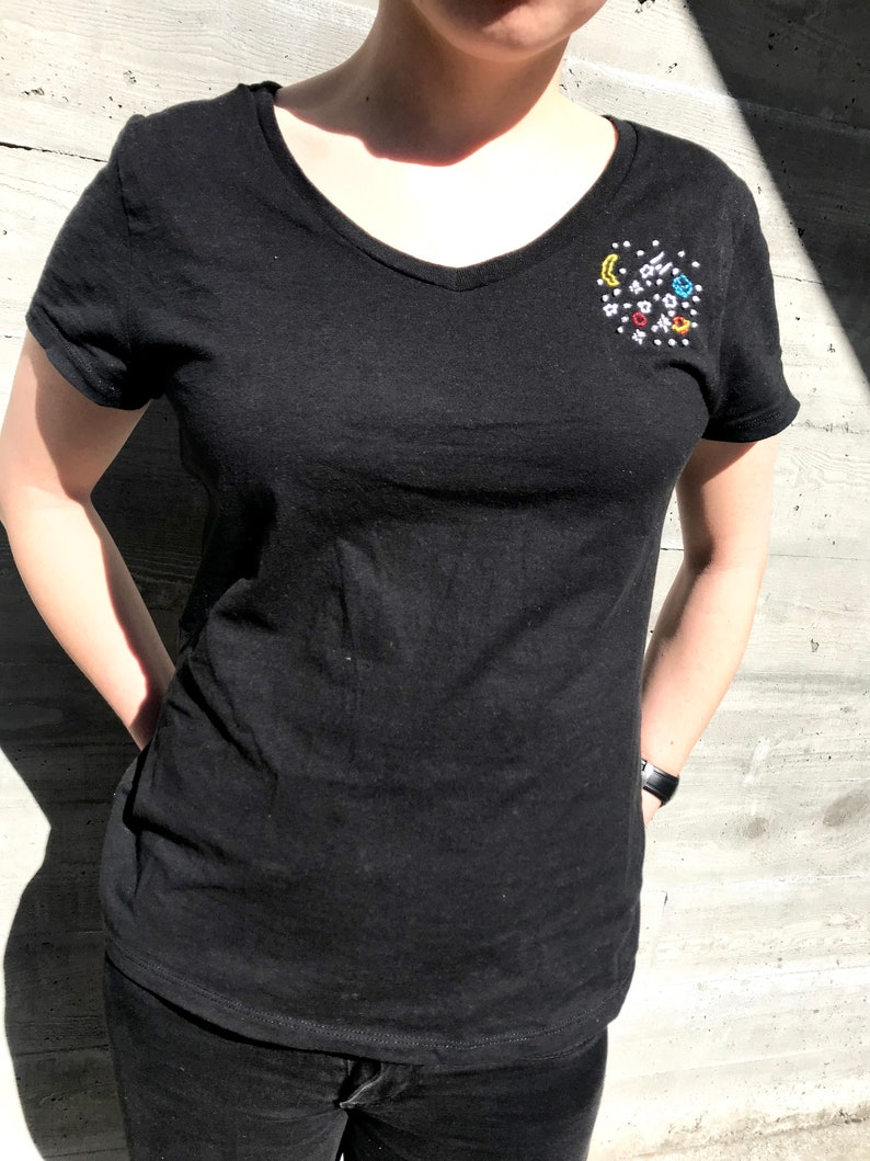 d5beed720a9a3 Outer Space Custom Embroidered T-Shirt - Handmade by Bitch Stitch