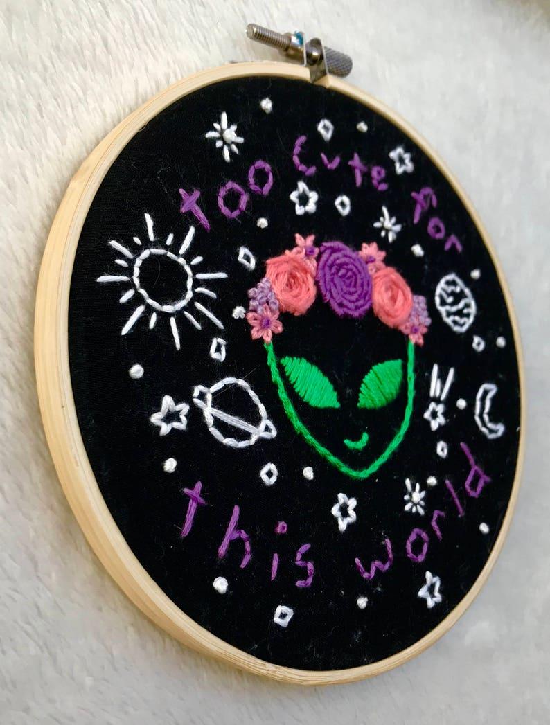 92adef5947879 Space Alien Flower Crown Embroidery in Black -