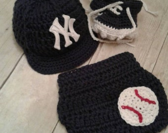New York Yankees inspired baseball hat diaper cover and cleats photography  prop boy or girl pink or blue 0cc4c4cf3