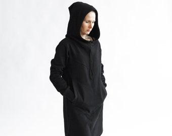 45dc94d9cd4 Women black hooded dress