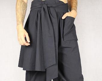 Hakama pants with removable straps, japanese style, samurai trousers, oversized, unisex