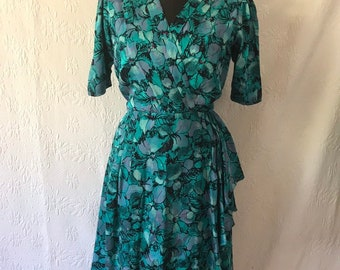 4e28d1d8eff 80s does 40s pristine turquoise silk dress with hip swag   poppy print 40