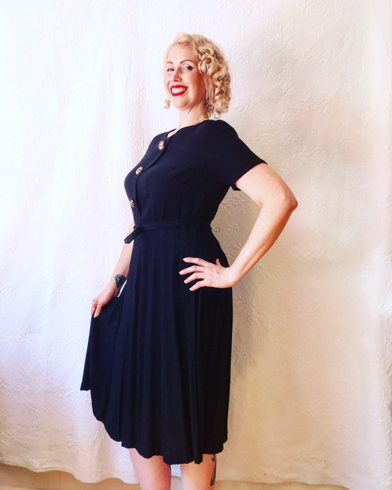 6a245d5e59baa 1940s voluptuous rayon frock dress with faux leopard fur | Etsy