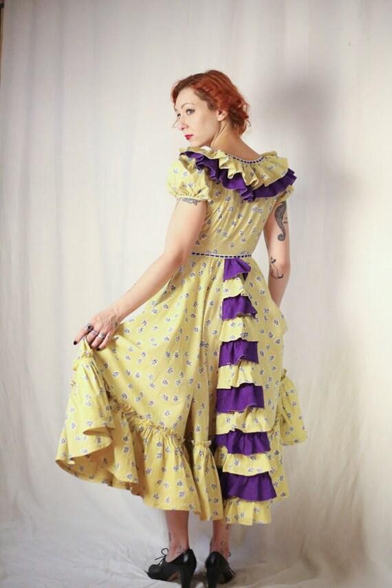 1930s ruffled prairie rose floral print dress XS S - image 4