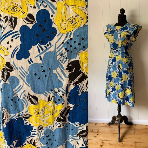 XxxL 1930s voluptuous yellow rose print dress
