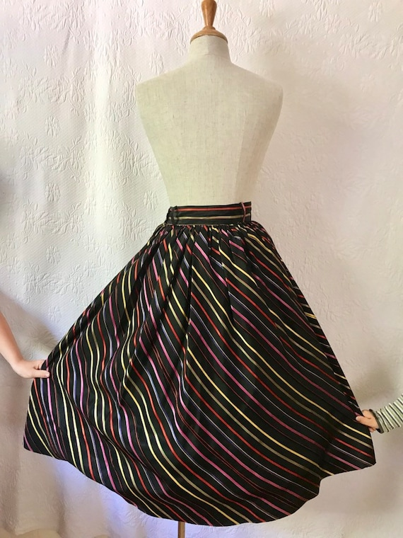 1940s 1950s rainbow striped satin full skirt
