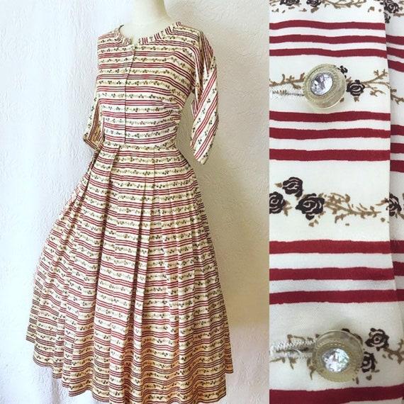 1950s rose print satin dress medium