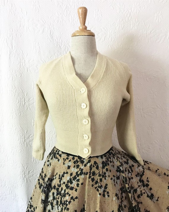 1930s 1940s cream pure wool cropped cardigan xs s