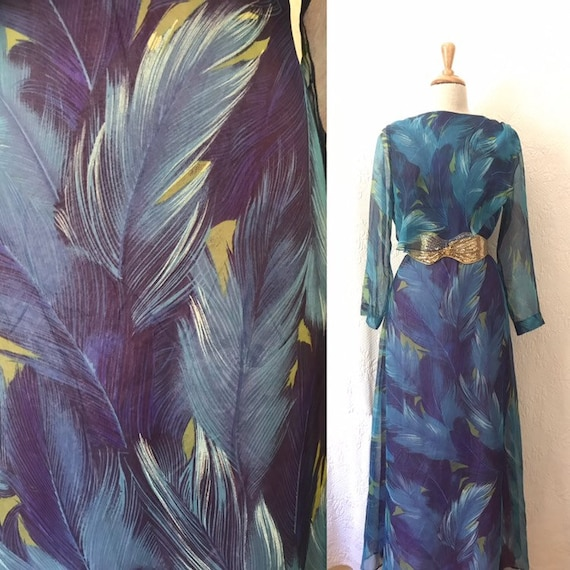 1970s huge feather print chiffon maxi dress