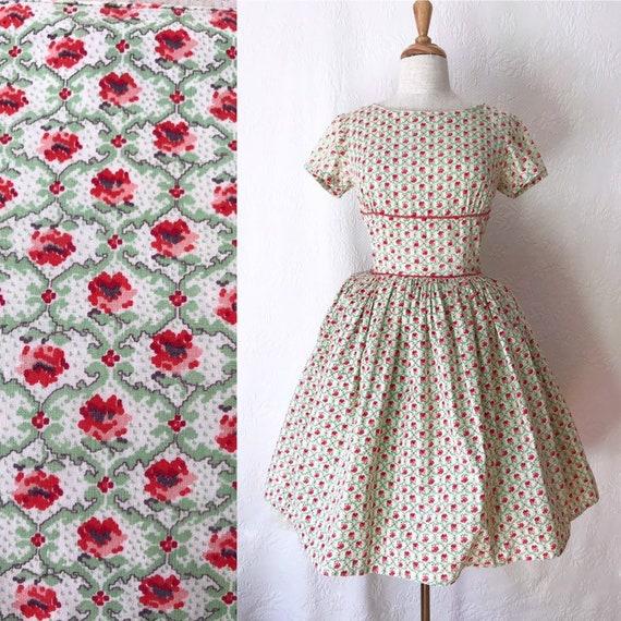 1940s 1950s tiny red rose print dress
