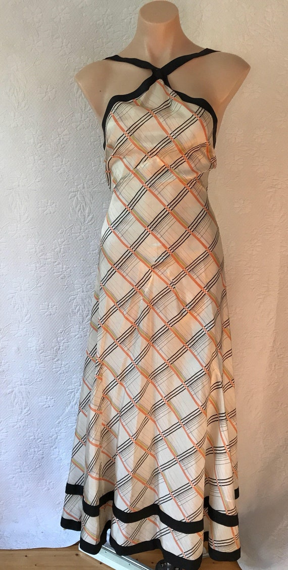 Vintage 1930s deadsrock biascut pongee silk dress