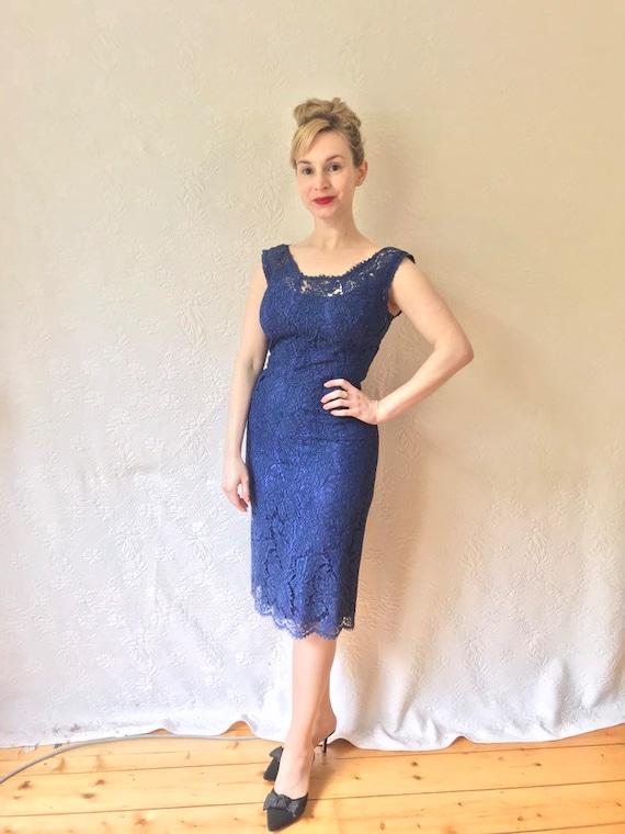 1950s cobalt blue lace wiggle dress